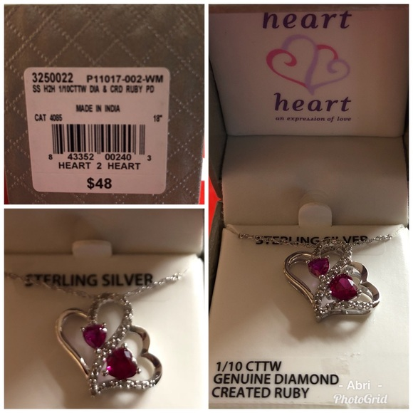 Sterling Diamond / Ruby Heart Necklace NWT